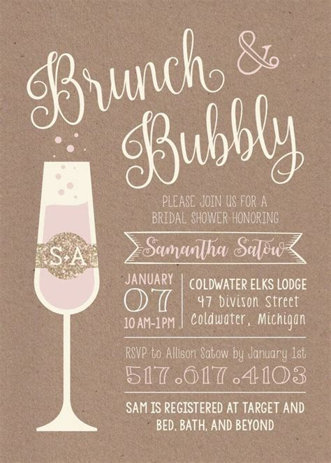 Brunch & Bubbly Printable Bridal Shower Invitation. Etsy