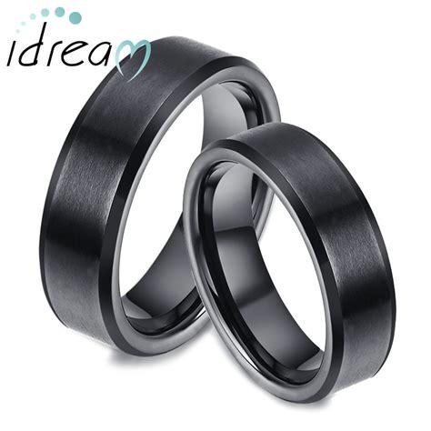 Carbide Wedding Band by Black Tungsten Wedding Bands Set Flat Beveled Edges