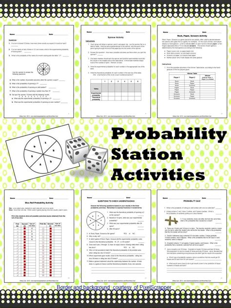 printable probability games probability station activities
