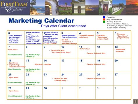 Marketing Calendar Days After Client Real Estate Marketing Calendar Template