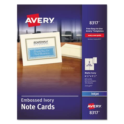 avery 174 embossed note cards inkjet 4 1 4 x 5 1 2 matte ivory 60 pk w envelopes ave8317