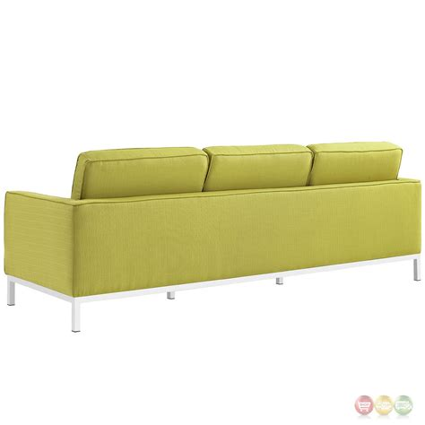 Loft Contemporary Button Tufted Upholstered Sofa W Chrome Tufted Upholstered Sofa