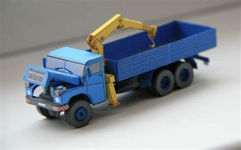 paper craft truck tatra 148 crane truck free vehicle paper model