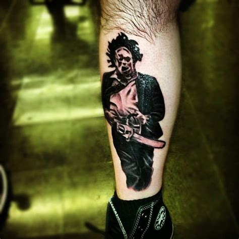 leatherface tattoo this texaschainsaw3d fan has leatherface tattooed on his