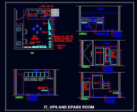 Server Room (UPS, EPABX, IT) layout with wall elevations Plan n Design