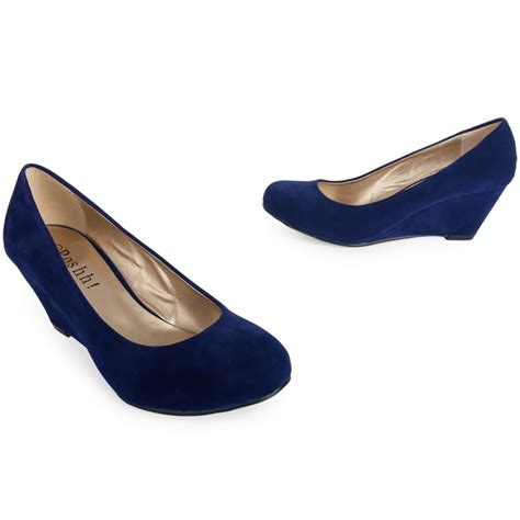 womens navy blue smart formal wedge mid heel faux