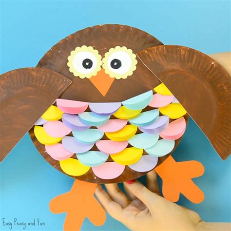 How To Make A Paper Plate Owl - colorful paper plate owl craft idea easy peasy and