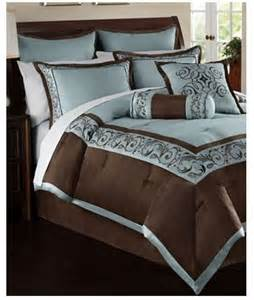 Hallmart rosenthal 24 piece queen comforter set blue brown
