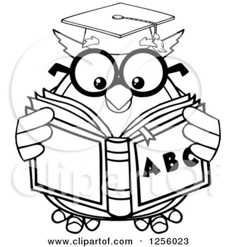 owl reading coloring page clipart of a black and white wise professor owl in glasses