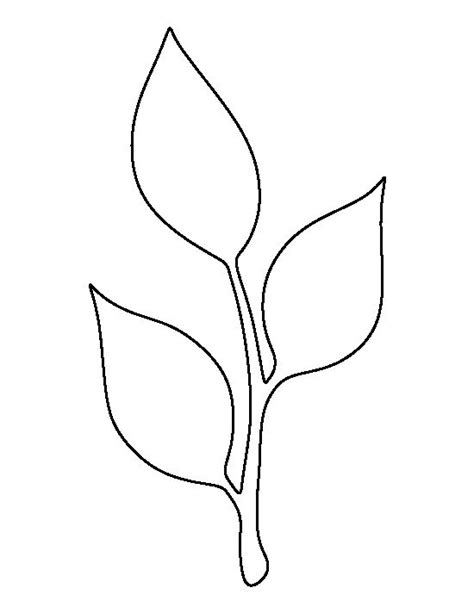 leaf paper template stem and leaf pattern use the printable outline for