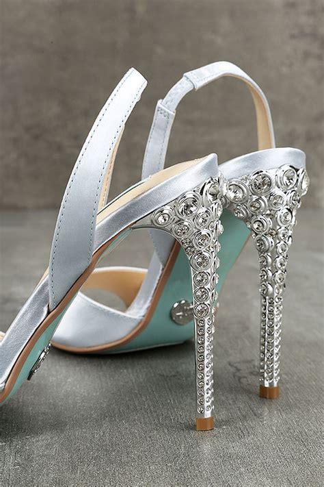 blue by betsey johnson high heel peep toe betsey johnson sb light blue satin heels peep