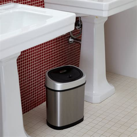 trash can bathroom nine stars dzt 12 9 touchless stainless steel 3 1 gallon