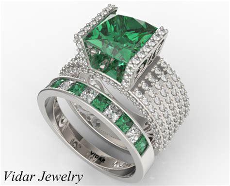 dazzling emerald wedding ring set in white gold