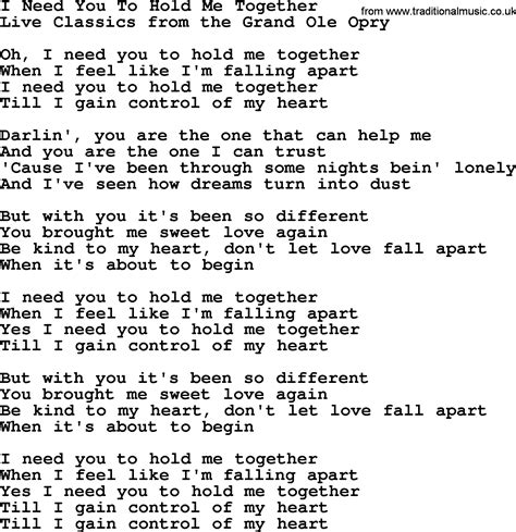song i you i need you to hold me together by marty robbins lyrics