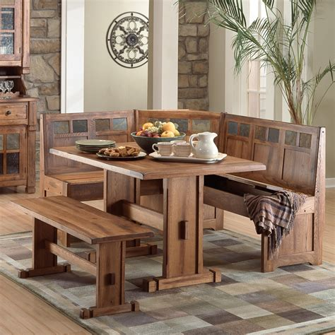 Kitchen Table Sets With Bench And Chairs Rustic Small Breakfast Nook Table Set And Chairs With Bench Seat Made From Oak Ideas