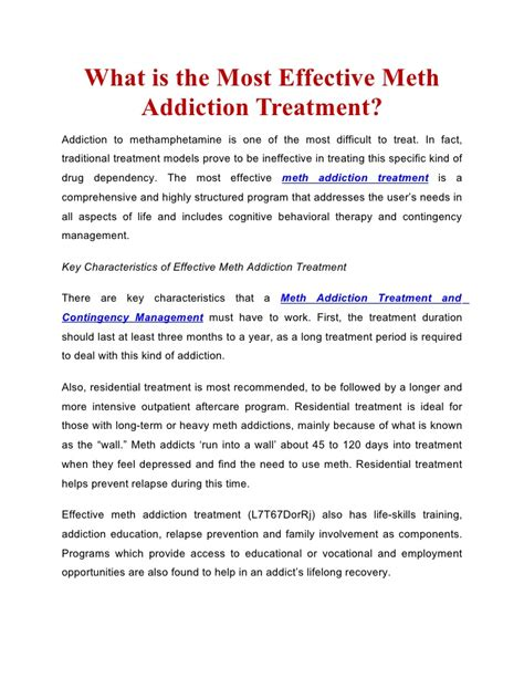 What Is Detox Treatment by Meth Addiction Treatment And Contingency Management