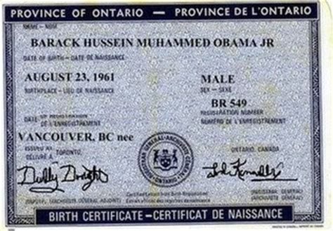 canadian full birth certificate barack obama
