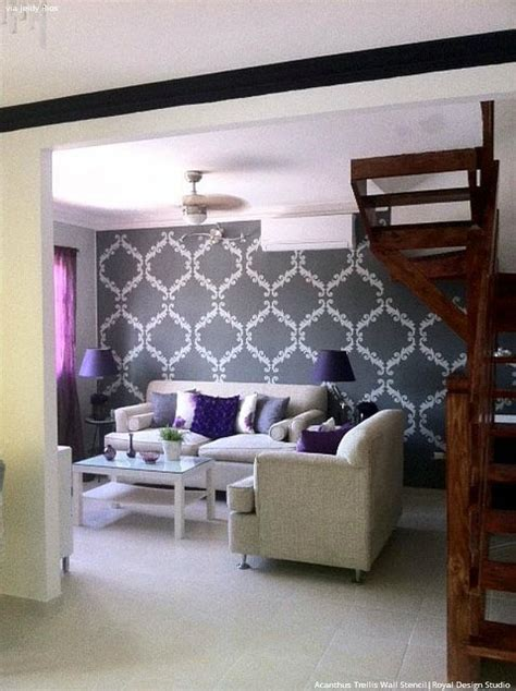 Living Room Stencils by Trendy Glam Room Makeovers With Diy Black Painted