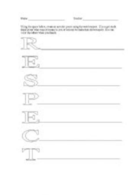 printable worksheets on respect english worksheets respect acrostic poem