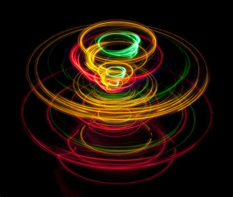 Spinning Light by Spinning Top Lines Of Light Tracing A Pattern