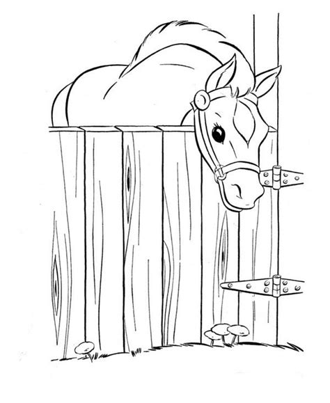 horse in stable coloring page