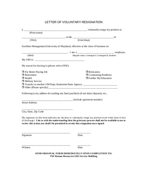 voluntary termination letter template sle resignation letter 9 exles in pdf word