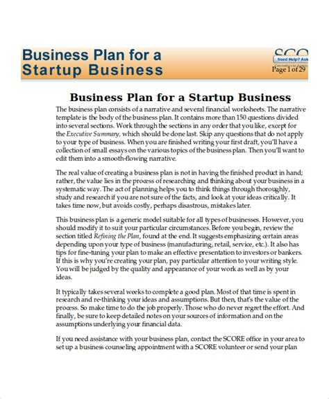 startup business plan template 13 business plans free sle exle format free