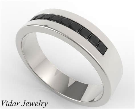 princess cut black diamond channel set wedding band