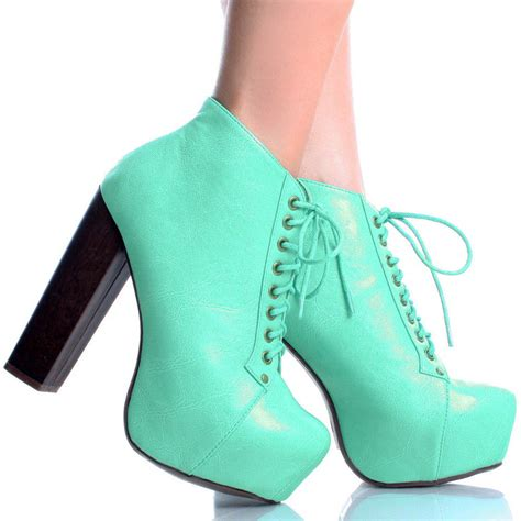 mint green high heel shoes mint green lace up faux leather chunky heel platform