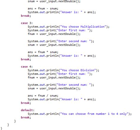 Calculator Using Switch Case   java code basic calculator using switch case ibegin java
