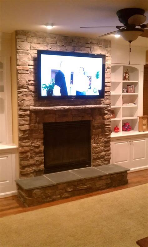 fireplace tv installation stone tv  fireplace