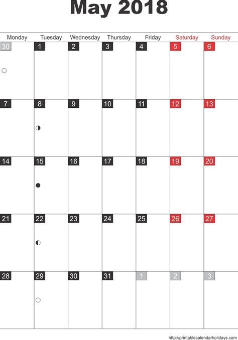 printable monthly calendar 2018 portrait may 2018 calendar template portrait printable 2017