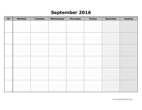 Blank September Calendar Blank Calendar September 2016 Template Printable