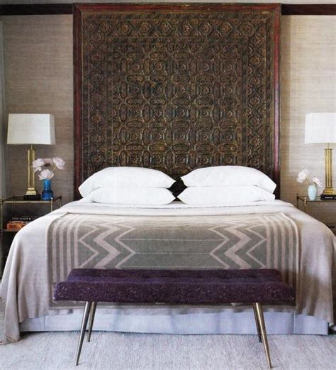 moroccan headboards purple bench mediterranean bedroom