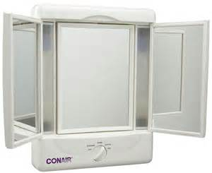 Makeup Mirror With Lights In Canada Conair Illumina Three Panel Make Up Mirror W 4 Light