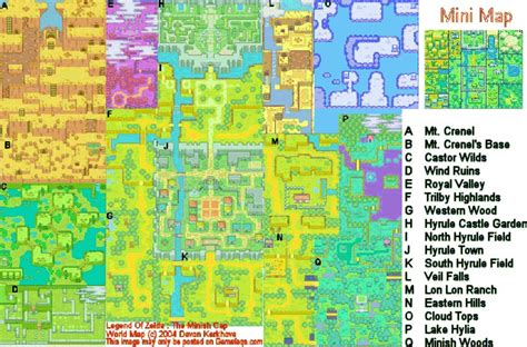 legend of zelda world map the legend of zelda the minish cap world map for game boy