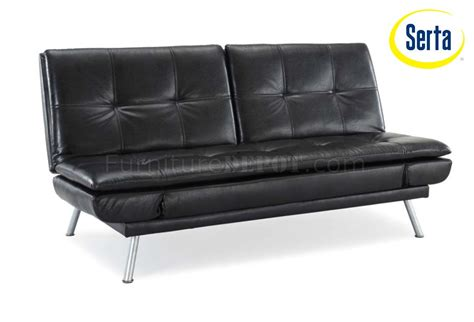 Black Bicast Leather Modern Convertible Sofa Bed W Metal Legs Leather Convertible Sofa Bed