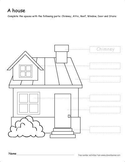 house printable for preschool label and colour the parts of house a free printable