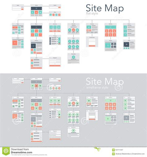 website architecture map site map stock vector image 64111437
