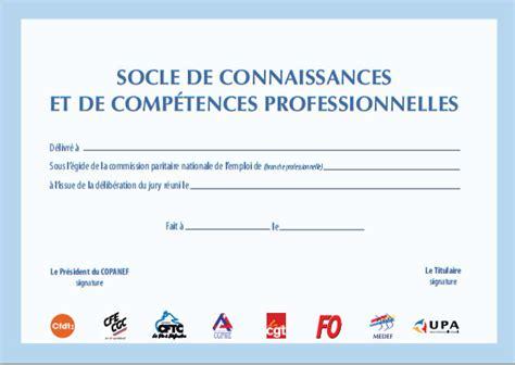 Modèle De Certificat De Compétences Professionnelles socle de connaissances et de comp 233 tences professionnelles