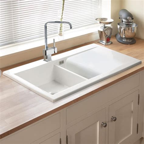 White Kitchen Sink with Astini Desire 150 1 5 Bowl Gloss White Ceramic Kitchen Sink Waste 5e Tap