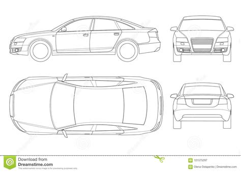 Sedan Car In Outline Business Sedan Vehicle Template Vector Isolated On White View Front Rear Car Outline Templates