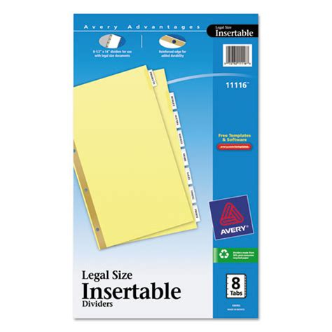 Ave11116 Avery Insertable Standard Tab Dividers Zuma Avery Tab Inserts For Dividers 8 Tab Template
