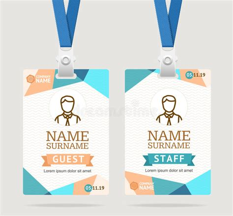 id card vector template id card template plastic badge vector stock vector