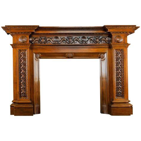 antique walnut fireplace mantel signed carlo