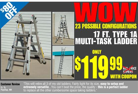 Buy Harbor Freight Gift Cards - harbor freight wow the only ladder you need 23 possible configurations 80 off