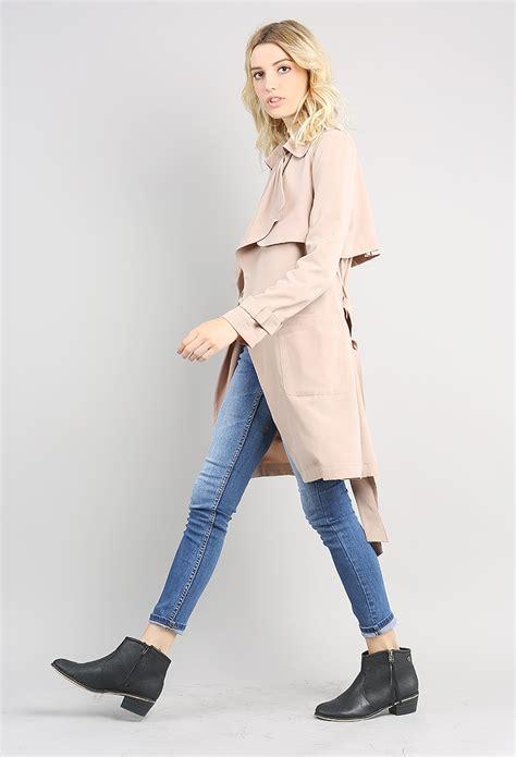 draped trench coat draped trench coat shop outerwear at papaya clothing