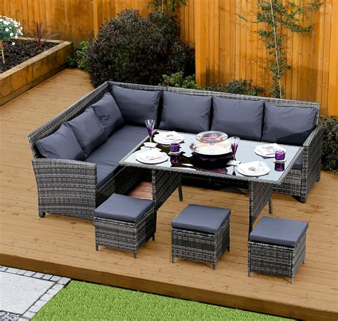 Sofa At Dining Table 9 Seater Rattan Corner Garden Sofa Dining Table Set In Mixed Grey With Cushions