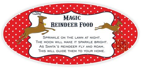 Wall Stickers Family magic reindeer food adhesive tag labels