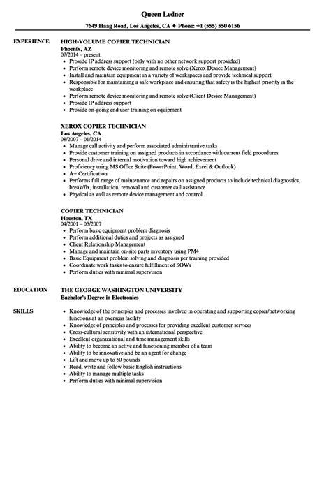 Copier Repair Sle Resume by Copier Technician Resume Resume Ideas